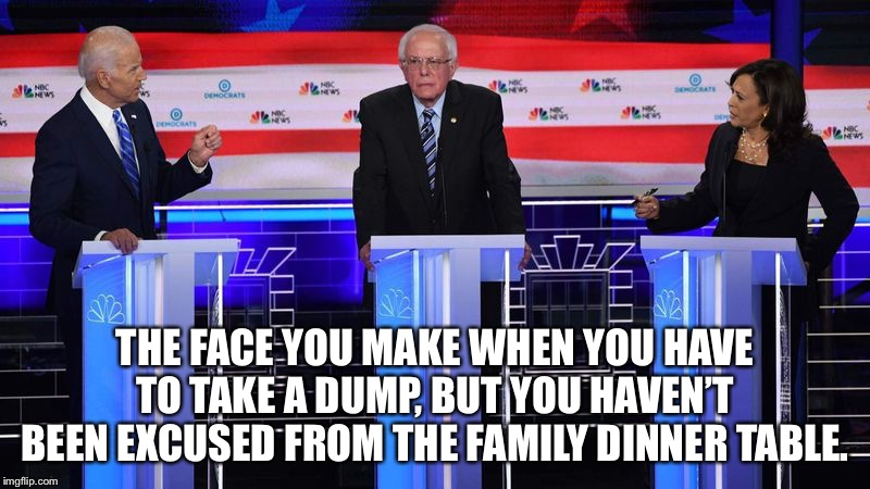 Bernie Sanders holding it in | THE FACE YOU MAKE WHEN YOU HAVE TO TAKE A DUMP, BUT YOU HAVEN'T BEEN EXCUSED FROM THE FAMILY DINNER TABLE. | image tagged in the face you make bernie sanders,bernie sanders,presidential debate,dinner,toilet humor,crap | made w/ Imgflip meme maker