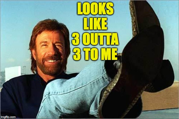 Chuck Norris Says | LOOKS LIKE 3 OUTTA 3 TO ME | image tagged in chuck norris says | made w/ Imgflip meme maker