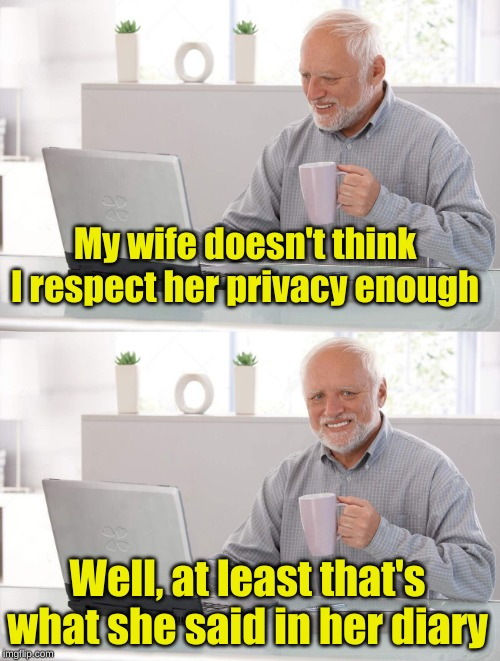 Big Brother Harold | My wife doesn't think I respect her privacy enough Well, at least that's what she said in her diary | image tagged in old man cup of coffee,memes,hide the pain harold,the vampire diaries,nagging wife,alternative templates | made w/ Imgflip meme maker