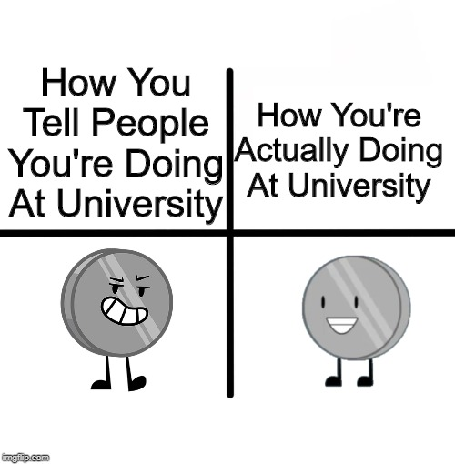 The Tuition Cost Is Crippling! | How You Tell People You're Doing At University How You're Actually Doing At University | image tagged in memes,inanimate insanity | made w/ Imgflip meme maker