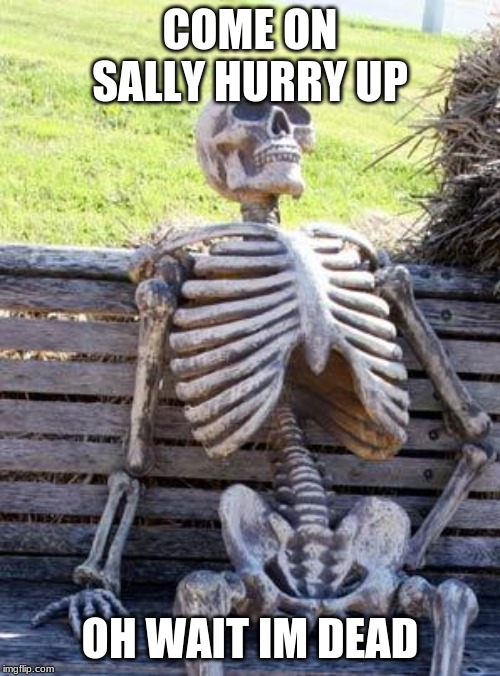 Waiting Skeleton Meme | COME ON SALLY HURRY UP OH WAIT IM DEAD | image tagged in memes,waiting skeleton | made w/ Imgflip meme maker