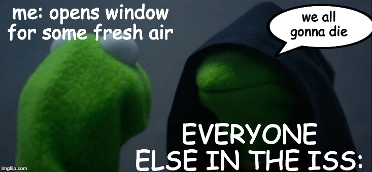 yall stoopid | me: opens window for some fresh air EVERYONE ELSE IN THE ISS: we all gonna die | image tagged in memes,evil kermit,stpid | made w/ Imgflip meme maker