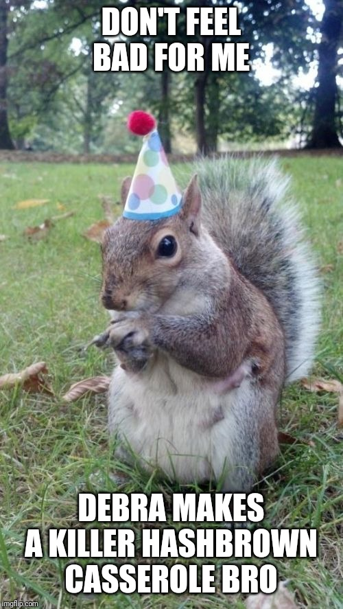 Super Birthday Squirrel |  DON'T FEEL BAD FOR ME; DEBRA MAKES A KILLER HASHBROWN CASSEROLE BRO | image tagged in memes,squirrel,funny animals,cute animals,dogs an cats,funny memes | made w/ Imgflip meme maker