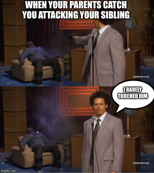 sometimes there isnt a good excuse | WHEN YOUR PARENTS CATCH YOU ATTACKING YOUR SIBLING I BARELY TOUCHED HIM | image tagged in memes,who killed hannibal,siblings,when you,gun,oh wow are you actually reading these tags | made w/ Imgflip meme maker