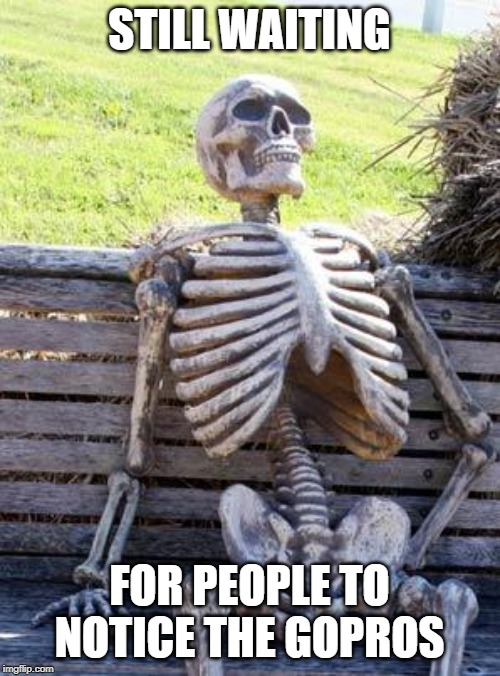 Waiting Skeleton Meme | STILL WAITING FOR PEOPLE TO NOTICE THE GOPROS | image tagged in memes,waiting skeleton | made w/ Imgflip meme maker