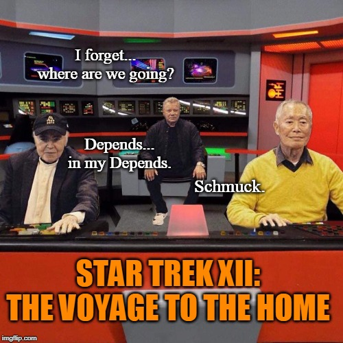 Just... one more sequel. | STAR TREK XII: THE VOYAGE TO THE HOME I forget... where are we going? Depends... in my Depends. Schmuck. | image tagged in star trek,william shatner,sci-fi,george takei,funny memes | made w/ Imgflip meme maker