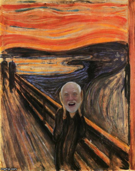 Hide the Scream Harold - Deviantart Week 2: a Raydog and TigerLegend 1046 event | image tagged in hide the scream harold,deviantart week 2,raydog,tigerlegend1046,hide the pain harold | made w/ Imgflip meme maker
