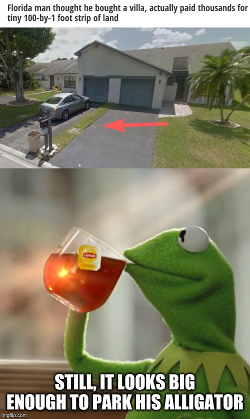Florida Men: Always living on the Edge | STILL, IT LOOKS BIG ENOUGH TO PARK HIS ALLIGATOR | image tagged in memes,but thats none of my business,florida man,rip off,why would they do this,darth vader noooo | made w/ Imgflip meme maker