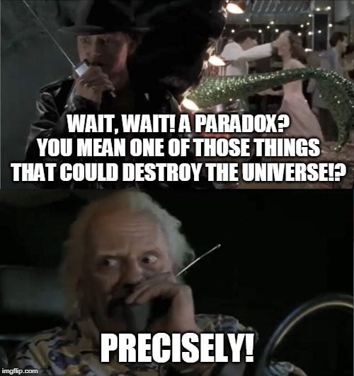 Back to the Future Paradox |  WAIT, WAIT! A PARADOX? YOU MEAN ONE OF THOSE THINGS THAT COULD DESTROY THE UNIVERSE!? PRECISELY! | image tagged in back to the future,marty mcfly,doc brown marty mcfly,doc brown,paradox,movie quotes | made w/ Imgflip meme maker