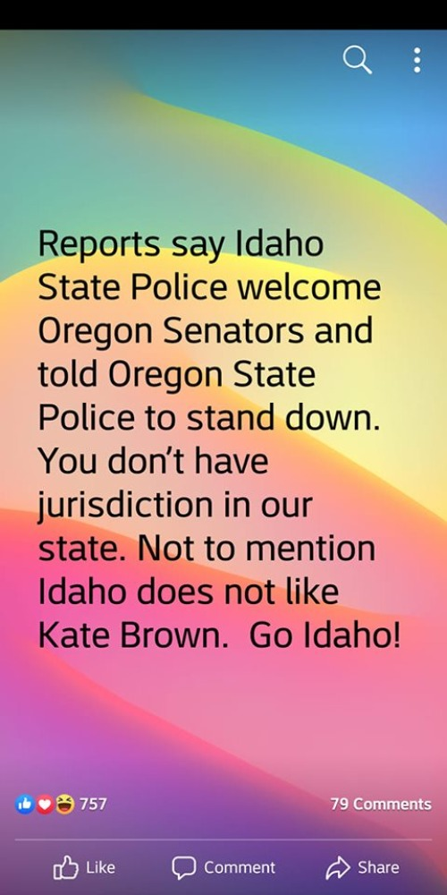 Idaho State Police Welcome Oregon state Senators | image tagged in idaho,oregon,police state,communist,kate brown,sedition | made w/ Imgflip meme maker