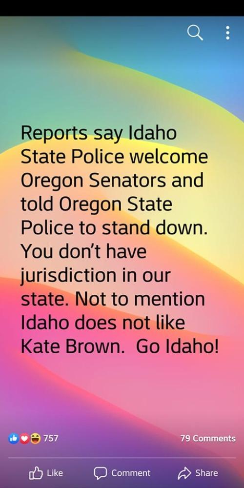 Idaho State Police Welcome Oregon state Senators - Imgflip
