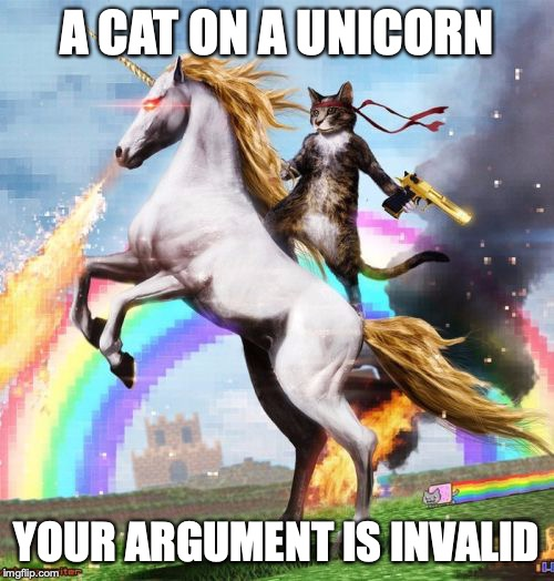 Welcome To The Internets | A CAT ON A UNICORN YOUR ARGUMENT IS INVALID | image tagged in memes,welcome to the internets | made w/ Imgflip meme maker