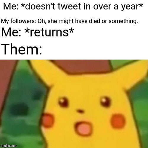 Return of the Jedi | Me: *doesn't tweet in over a year* My followers: Oh, she might have died or something. Me: *returns* Them: | image tagged in memes,surprised pikachu,twitter,return | made w/ Imgflip meme maker