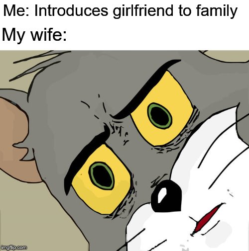 Unsettled Tom Meme | Me: Introduces girlfriend to family My wife: | image tagged in memes,unsettled tom | made w/ Imgflip meme maker