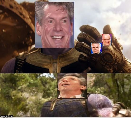 How Vince feels after hiring new directors | image tagged in paul heyman,wwe,vince mcmahon,infinity gauntlet,thanos | made w/ Imgflip meme maker