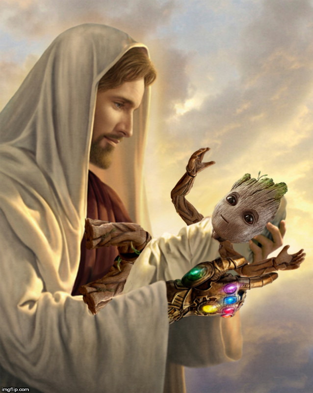 Infinity Jesus - Deviantart Week 2: a Raydog and TigerLegend 1046 event | image tagged in infinity jesus,deviantart week,avengers infinity war,jesus,baby groot | made w/ Imgflip meme maker