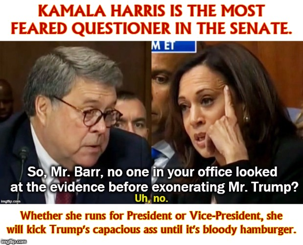 Trump wasn't prepared for this, bless his heart. |  KAMALA HARRIS IS THE MOST FEARED QUESTIONER IN THE SENATE. Whether she runs for President or Vice-President, she will kick Trump's capacious ass until it's bloody hamburger. | image tagged in kamala harris,trump,william barr,senate,election 2020 | made w/ Imgflip meme maker