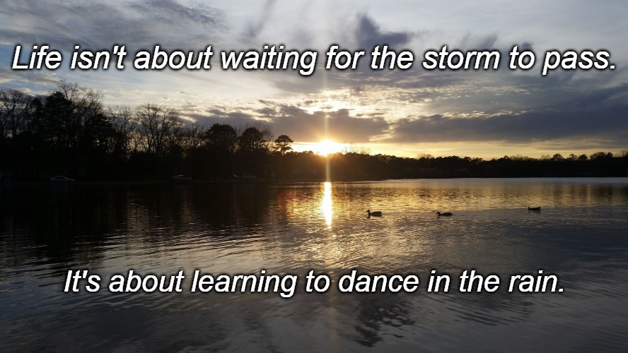 Life isn't about waiting for the storm to pass. It's about learning to dance in the rain. | image tagged in tranquility | made w/ Imgflip meme maker