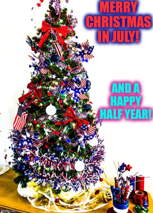 I can't believe 2019 is half over!! | MERRY CHRISTMAS IN JULY! AND A HAPPY HALF YEAR! | image tagged in christmas,2019 | made w/ Imgflip meme maker
