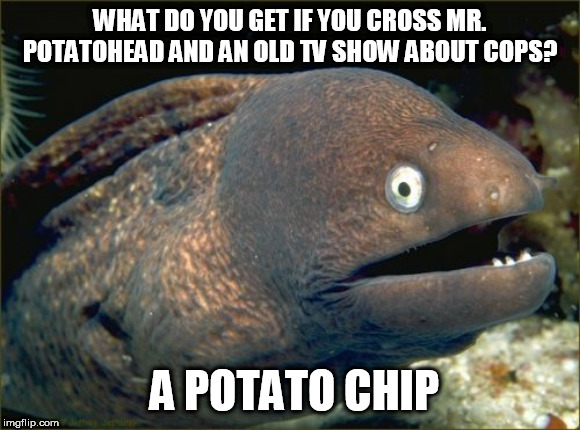 A bad pun to count towards my theme week? Potato Chips Week by me MemefordandSons. June 30 to July 7 | WHAT DO YOU GET IF YOU CROSS MR. POTATOHEAD AND AN OLD TV SHOW ABOUT COPS? A POTATO CHIP | image tagged in memes,bad joke eel,cops,tv shows,potato chips | made w/ Imgflip meme maker