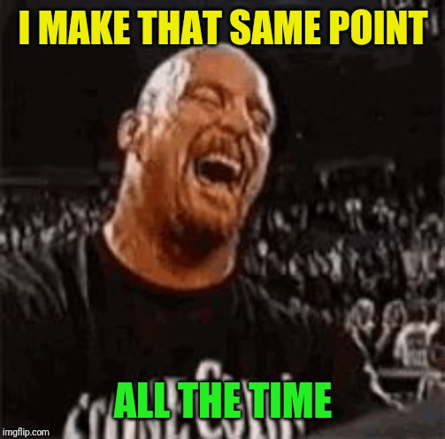 Stone Cold Laughing | I MAKE THAT SAME POINT ALL THE TIME | image tagged in stone cold laughing | made w/ Imgflip meme maker
