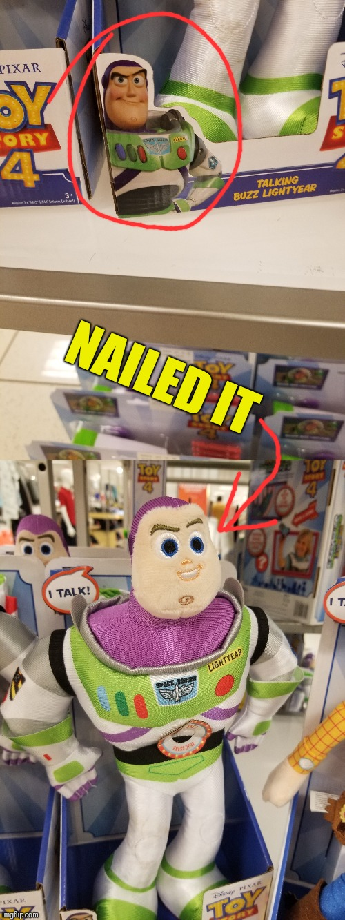 Now introducing - DERP Lightyear! |  NAILED IT | image tagged in derp,buzz lightyear,nailed it | made w/ Imgflip meme maker