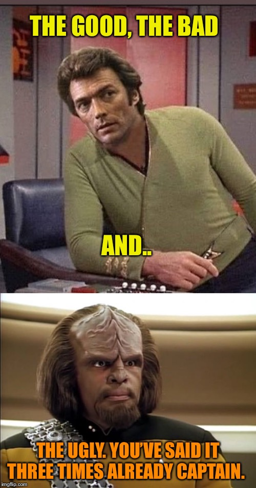 THE GOOD, THE BAD AND.. THE UGLY. YOU'VE SAID IT THREE TIMES ALREADY CAPTAIN. | image tagged in klingon | made w/ Imgflip meme maker