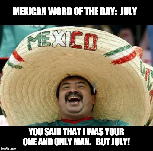 mexican word of the day | MEXICAN WORD OF THE DAY:  JULY YOU SAID THAT I WAS YOUR ONE AND ONLY MAN.   BUT JULY! | image tagged in mexican word of the day | made w/ Imgflip meme maker