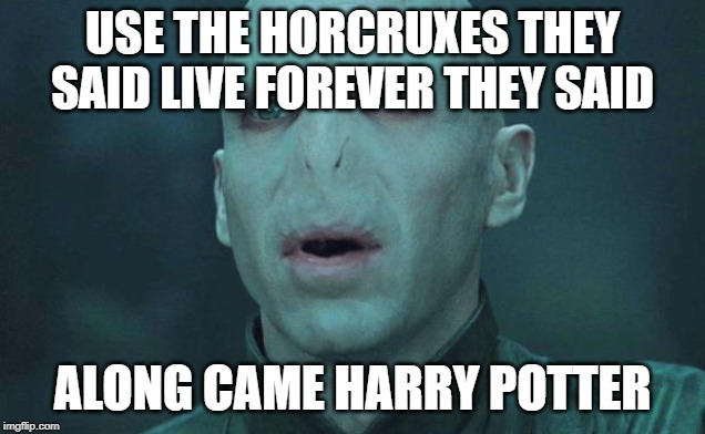 Voldemort |  USE THE HORCRUXES THEY SAID LIVE FOREVER THEY SAID; ALONG CAME HARRY POTTER | image tagged in voldemort | made w/ Imgflip meme maker