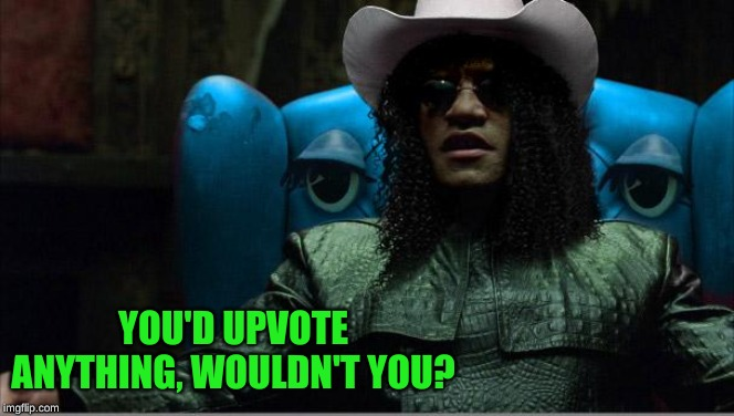 cowboy morpheus | YOU'D UPVOTE ANYTHING, WOULDN'T YOU? | image tagged in cowboy morpheus | made w/ Imgflip meme maker