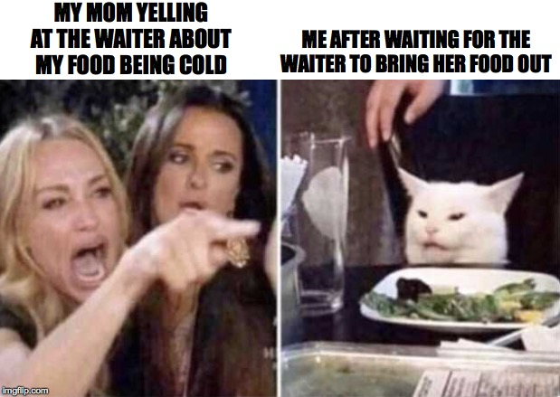 White Cat at table meme | MY MOM YELLING AT THE WAITER ABOUT MY FOOD BEING COLD ME AFTER WAITING FOR THE WAITER TO BRING HER FOOD OUT | image tagged in food,memes,cat,funny memes | made w/ Imgflip meme maker
