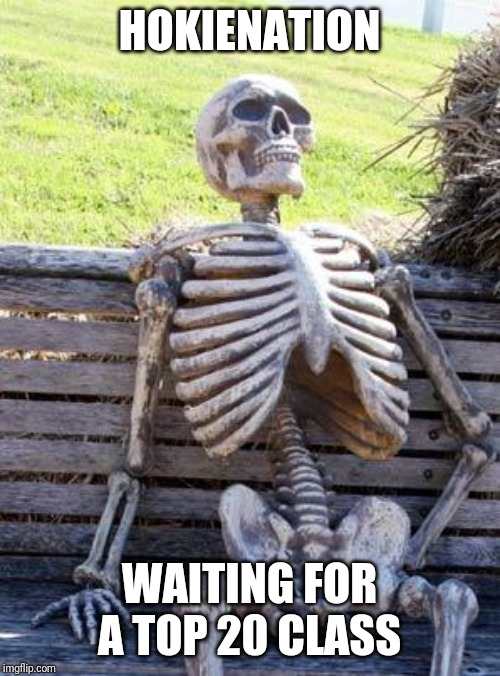 Waiting Skeleton Meme |  HOKIENATION; WAITING FOR A TOP 20 CLASS | image tagged in memes,waiting skeleton | made w/ Imgflip meme maker