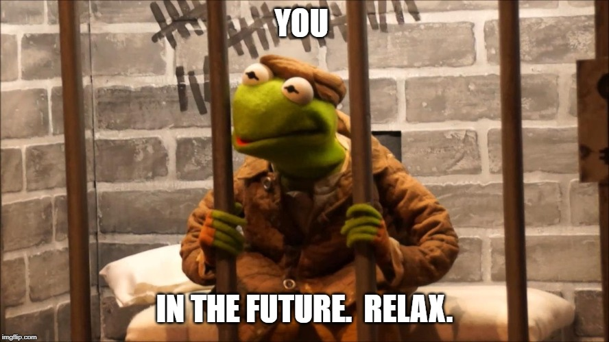 Kermit in jail |  YOU; IN THE FUTURE.  RELAX. | image tagged in kermit in jail | made w/ Imgflip meme maker