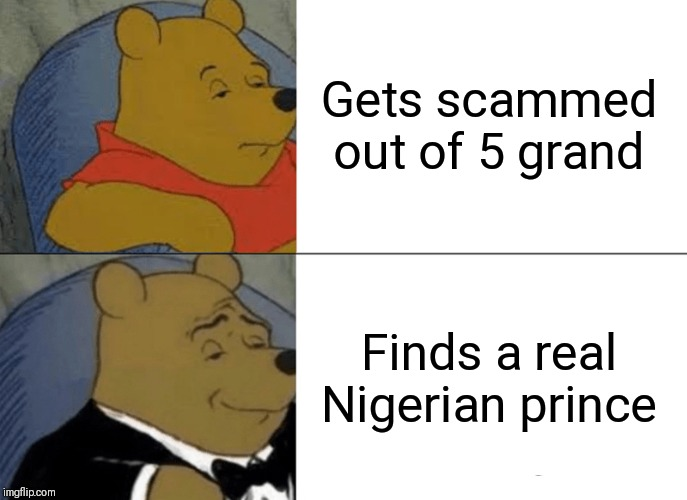 Tuxedo Winnie The Pooh Meme |  Gets scammed out of 5 grand; Finds a real Nigerian prince | image tagged in memes,tuxedo winnie the pooh | made w/ Imgflip meme maker