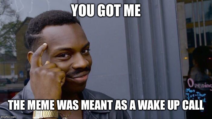 YOU GOT ME THE MEME WAS MEANT AS A WAKE UP CALL | image tagged in memes,roll safe think about it | made w/ Imgflip meme maker