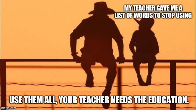 Cowboy wisdom on banned words | MY TEACHER GAVE ME A LIST OF WORDS TO STOP USING USE THEM ALL, YOUR TEACHER NEEDS THE EDUCATION. | image tagged in cowboy father and son,cowboy wisdom,banned words,educate teachers,free speech,fight da man | made w/ Imgflip meme maker