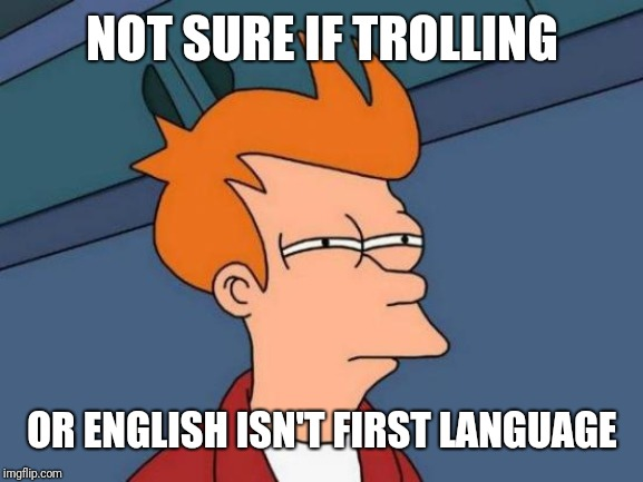 Half of the comments on my memes | NOT SURE IF TROLLING OR ENGLISH ISN'T FIRST LANGUAGE | image tagged in memes,futurama fry,funny,wut,what,hmm | made w/ Imgflip meme maker