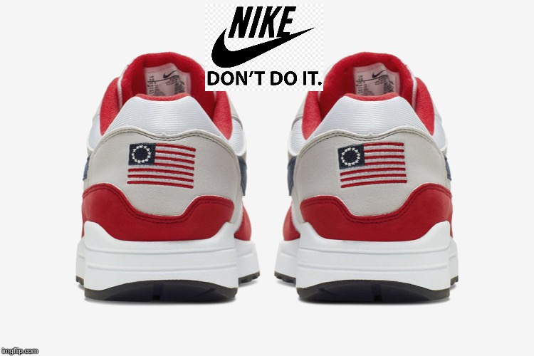 It's not a swish - it's a wuss symbol | image tagged in nike,flag shoe,patriotic,paesternick,wuss | made w/ Imgflip meme maker