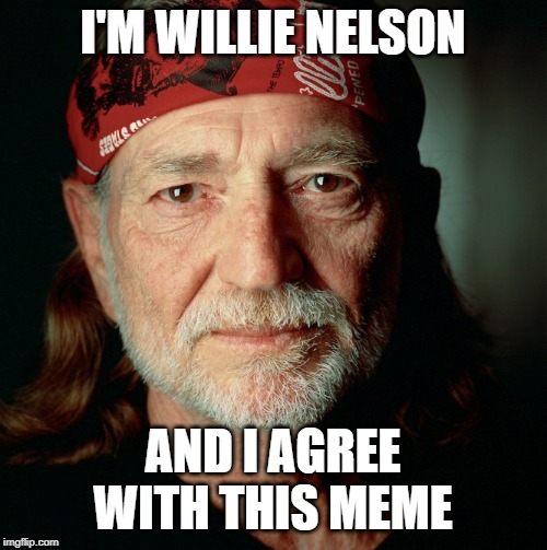 Willie Nelson  | I'M WILLIE NELSON AND I AGREE WITH THIS MEME | image tagged in willie nelson | made w/ Imgflip meme maker