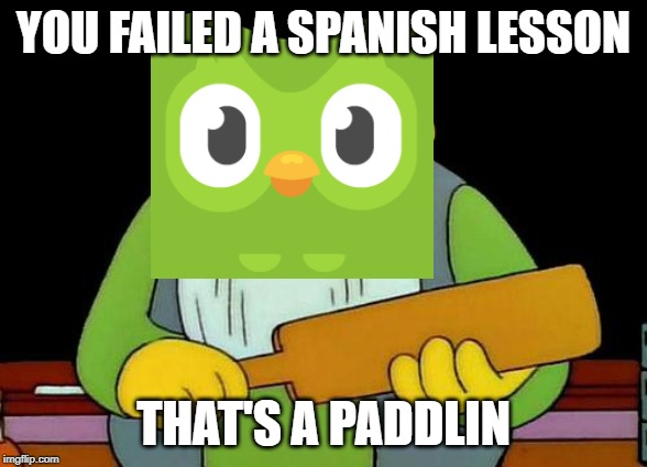 That's a paddlin' |  YOU FAILED A SPANISH LESSON; THAT'S A PADDLIN | image tagged in memes,that's a paddlin' | made w/ Imgflip meme maker