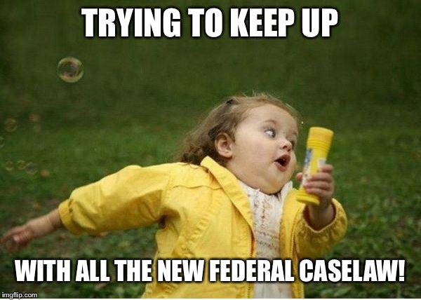 Chubby Bubbles Girl Meme | TRYING TO KEEP UP WITH ALL THE NEW FEDERAL CASELAW! | image tagged in memes,chubby bubbles girl | made w/ Imgflip meme maker