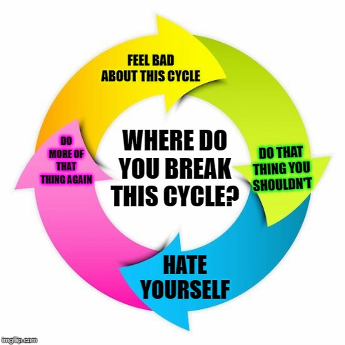 I say when we stop beating our selves up is when we are able break this cycle. |  FEEL BAD ABOUT THIS CYCLE; WHERE DO YOU BREAK THIS CYCLE? DO MORE OF THAT THING AGAIN; DO THAT THING YOU SHOULDN'T; HATE YOURSELF | image tagged in cycle,memes,nixieknox,addiction | made w/ Imgflip meme maker