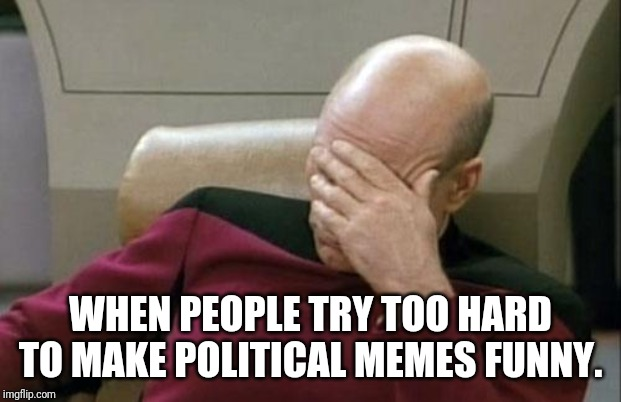 WHEN PEOPLE TRY TOO HARD TO MAKE POLITICAL MEMES FUNNY. | image tagged in memes,captain picard facepalm | made w/ Imgflip meme maker
