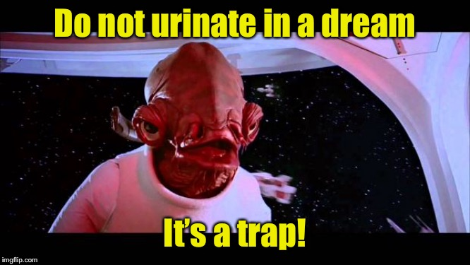 Bed wetting prevention | Do not urinate in a dream It's a trap! | image tagged in it's a trap,dream,piss | made w/ Imgflip meme maker