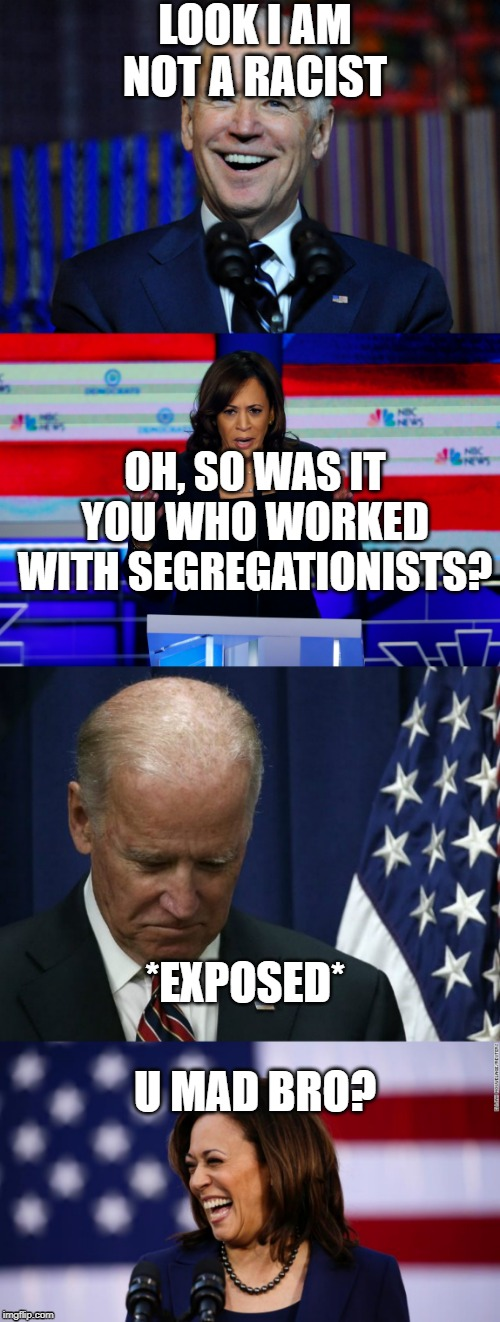 Kamala Spawns Setback For Biden 2020 | LOOK I AM NOT A RACIST OH, SO WAS IT YOU WHO WORKED WITH SEGREGATIONISTS? *EXPOSED* U MAD BRO? | image tagged in kamala harris,election 2020,joe biden | made w/ Imgflip meme maker