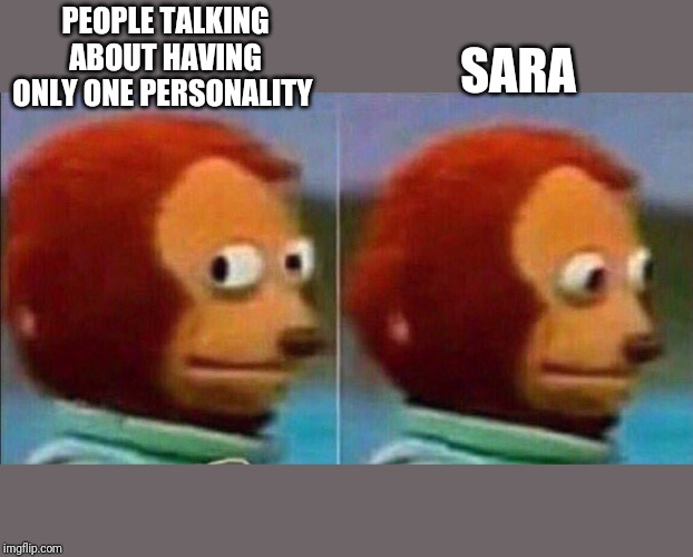 Monkey looking away | PEOPLE TALKING ABOUT HAVING ONLY ONE PERSONALITY SARA | image tagged in monkey looking away | made w/ Imgflip meme maker
