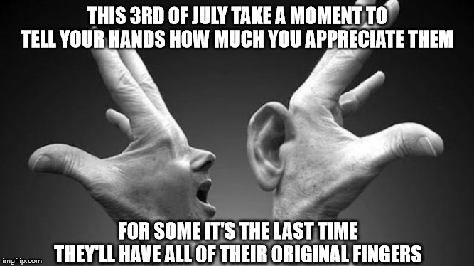 hand love | THIS 3RD OF JULY TAKE A MOMENT TO TELL YOUR HANDS HOW MUCH YOU APPRECIATE THEM FOR SOME IT'S THE LAST TIME THEY'LL HAVE ALL OF THEIR ORIGINA | image tagged in funny,independence day,hands,appreciation | made w/ Imgflip meme maker