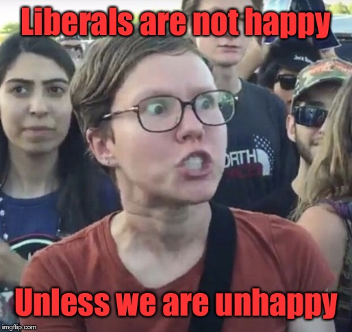Triggered feminist | Liberals are not happy Unless we are unhappy | image tagged in triggered feminist | made w/ Imgflip meme maker