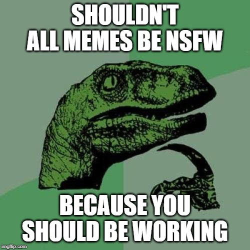 Philosoraptor Meme | SHOULDN'T ALL MEMES BE NSFW BECAUSE YOU SHOULD BE WORKING | image tagged in memes,philosoraptor | made w/ Imgflip meme maker