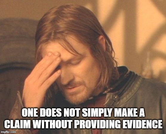 Frustrated Boromir |  ONE DOES NOT SIMPLY MAKE A CLAIM WITHOUT PROVIDING EVIDENCE | image tagged in memes,frustrated boromir | made w/ Imgflip meme maker